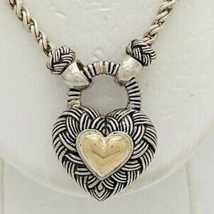 Andrea Candela 925 14K Twisted Heart Necklace